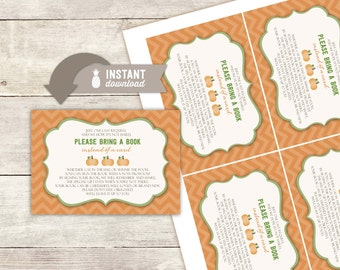 """Bring A Book Instead Of A Card Inserts: Pumpkin Baby Shower Design - 4 (3.5"""" x 5"""") Cards on an 8.5"""" x 11"""" PDF Page- Digital File"""