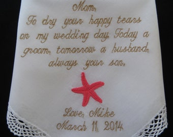 Custom Embroidered Wedding Handkerchief for the Grooms Mother-EMBROIDERY ONLY HANKIEs by Elegant Monogramming LLC