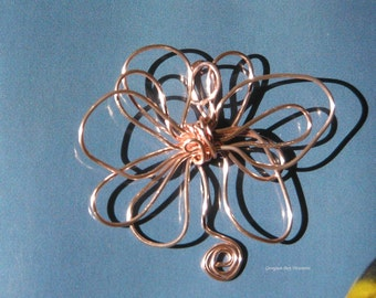 Flower pendant, rose gold, original handmade, wire wrapped wire, gift under 20, GBT47