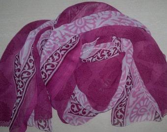 Long Scarf Indian Sari Scarf Purple Scarf LSF0