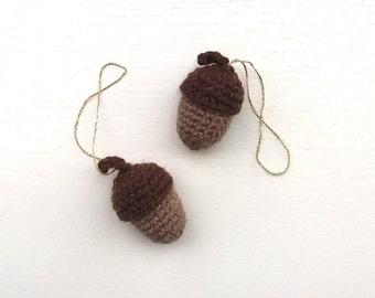 Crochet Acorns Holiday Décor Set of 2 / Christmas Decor / Christmas Gift