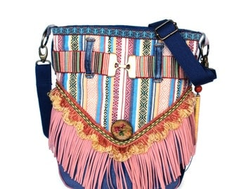 Bohemian bag Ibiza with fringe in pink and blue jeans - fabric purse Native American - colored handbag handmade - unique women gift