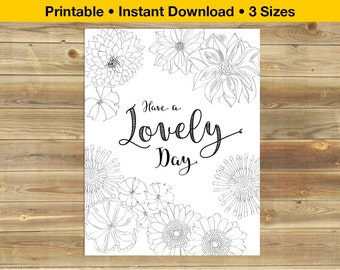 Printable adult coloring book cards, pages, kitchen sign, colouring book, greeting card - Instant download - Digital file DIY