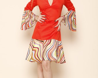A line cute retro mod dress/Boho/Hippie Dress, Bell sleeve Boho Summer Dress