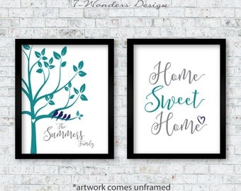 Personalized Family Art Prints, Family Tree Birds, Home Sweet Home, Home Decor Set of (2) 5x7, 8x10 or 11x14 Navy Teal Grey UNFRAMED