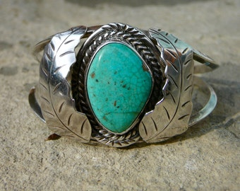 Vintage Navajo Turquoise and Silver Signed Cuff • Native American Turquoise Jewelry