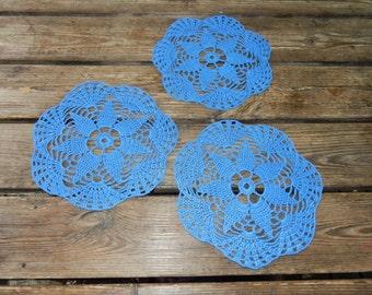Swedish hand crocheted blue doilies  / set of 3