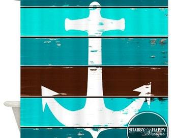 Shower Curtain Art Design  // Seaside Anchor Distressed Painted on Slatted Wood ART // Custom Bathroom Decor // 12 stitch-enforced eyelets