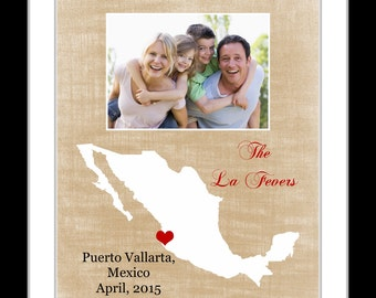 Family gift idea map with photo opening, personalized map, gift for families, vacations memories mexico trip travel gifts, travel art