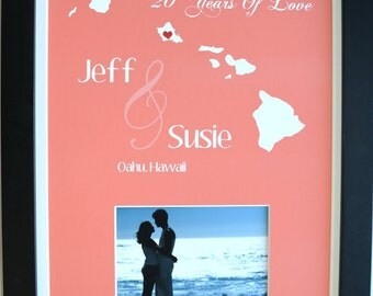 Paper anniversary gift for him her, wedding gift, anniversary, gift for 1 year anniversary, first love, ANY year And map, oahu hawaii shown