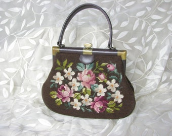 1950/60s Brown Floral Hand Made Needlepoint Handbag with Leather Trim