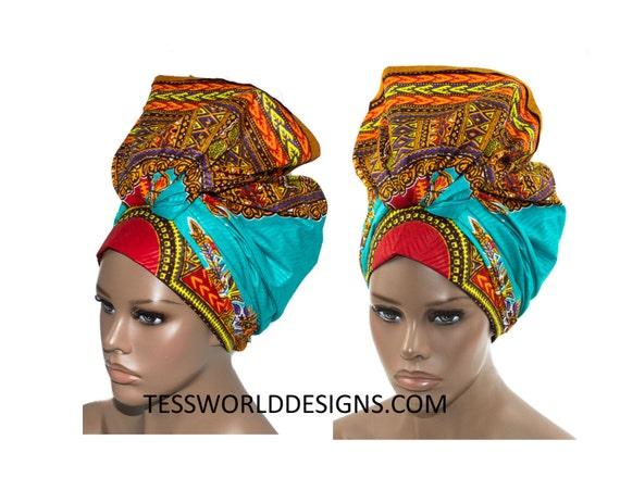 teal angelina dashiki fabric head wraps african head tie. Black Bedroom Furniture Sets. Home Design Ideas