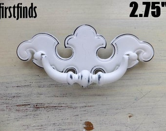 10 Chippendale Handles Shabby Chic White Furniture Cupboard Dresser Drawer Painted Hardware Cabinet Swing Pull 2 3/4 inch ITEM DETAILS BELOW