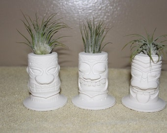 Mini Tiki planters, trio of Tiki air plant holders, Island style, Tahitian, Hawaiian decor, Polynesian,gift,wedding FREE GIFT W/PURCHASE