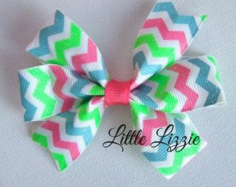 Summer neon chevron pinwheel hair clip girl toddler