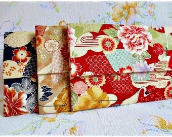 Large envelope clutch japanese kimono fabric red navy yellow orange crane evening purse