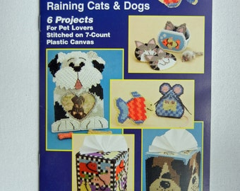 Plastic Canvas Patterns Raining Cats & Dogs Plastic Canvas Projects for Pet Lovers Quick Count Booklet - Like New