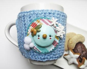 Mug Cozy & Mug - Pixie Pinecone - yarn - polymer clay