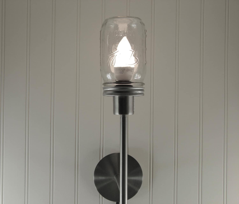 Mason Jar Wall Sconce Etsy : Mason Jar Wall Sconce Handmade Mason Jar Lamp Clear Pint