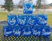 Mini Mason Jar Shot Glasses - Set of 10 - CHOOSE COLORS  or colors of event Wedding Favors - Bachelorette Party - Each Glass Personalized