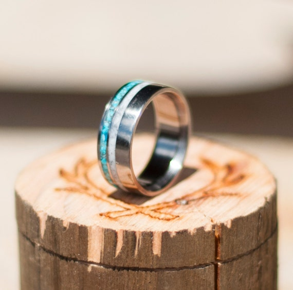 Mens Wedding Band Elk Antler Amp Hand Crushed By StagHeadDesigns