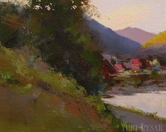 Ready to Hang Oil Painting, Small Landscape Painting, Mountain Contemporary Nature Artwork