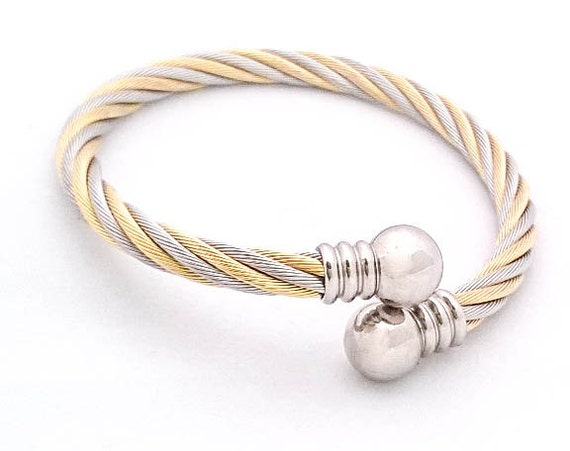Vintage Silver and gold tone wire twisted rope bangle cuff bracelet