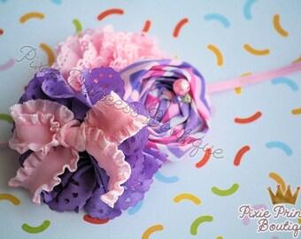 Sweet Talk - Headband, Baby Headband, Photography Prop, Couture Headband, Hair Clip, Pink and Lavender, Chevron Headband, Girly Headband