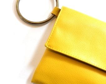 Yellow Clutch, Evening Purse, Vegan Wristlet, Yellow Handbag, Envelope Clutch, Gift For Her