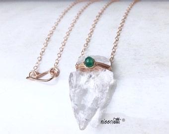 Genuine Emerald and Raw Quartz Arrowhead Necklace  / May Birthstone / Bohemian Jewelry / May Birthday Gift / Columbian Emerald Necklace