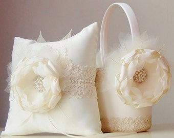 Ivory Flower Girl Basket, Vintage Wedding, Ring Bearer Pillow, Flower Girl Basket and Ring Bearer Pillow
