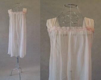 Retro, Pink, Micro Pleated, Nylon Nightgown - 1960s