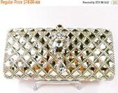 SALE 30% OFF Crystal Clutch, Gold Crystal Rhinestone Bridal Clutch, Crystal Wedding Purse, Gold Crystal Evening Bag P-68