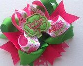 "Girls Toddlers Infants St. Patrick's Day ""Pinch Proof"" Large Double Stacked Boutique Bow w/Green Clover Embroidered Feltie w/Assorted Spikes"