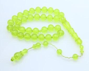 Yellow color 33pcs Islamic Prayer Beads Misbaha Rosary Tesbih misbaha 401005