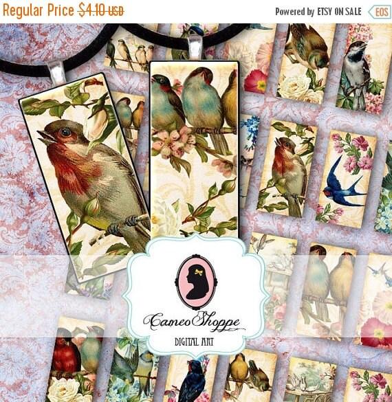 75% OFF SALE DOMINO Bird Garden - Digital Collage for dominos 1x2 inches Digital collage sheet Digital download
