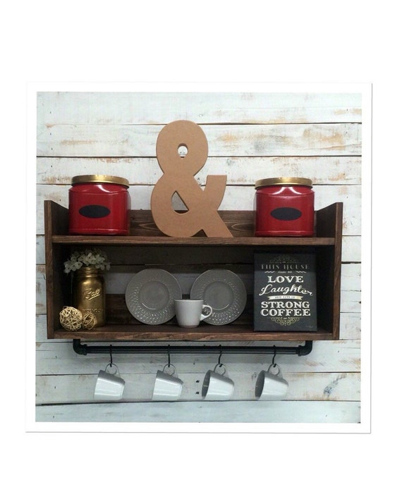 Rustic Bar Wall Decor : Rustic kitchen shelf coffee bar wall by