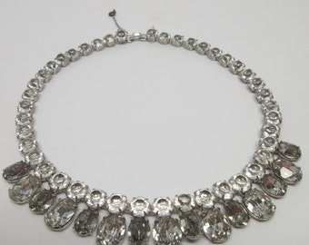 Vintage Early Weiss Co Smoke and Clear Rhinestone Necklace         Open Backed   Foil Backed 1940s  Bride