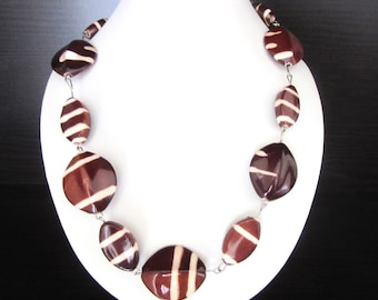 Chunky Resin Bead Necklace Abstract Print Chocolate Brown & Ivory Colors Metal Strung 18 - 20 Inches
