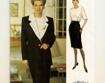 A Round Neckline, Blouson Bodice, Tapered Skirt Dress & Below-Hip Length Jacket Pattern for Women: Uncut - Sizes 12-14-16 ~ Vogue Woman 8602