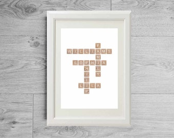 Custom print - personalized family names - custom print - family gift - anniversary gift - mother gift - wedding gift - wood poster