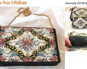 End of Summer Sale Tapestry Black Clutch Purse, Evening Bag, Matching Coin Purse, Flap Over and Snap Closure, Gold Chain Vintage Items