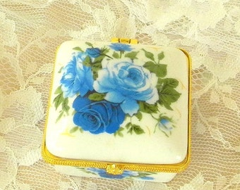 End of Summer Sale Hinged Porcelain Trinket Box, Blue Roses, Vintage Item, Stash, Gift, Jewelry, Decor, Shabby Chic