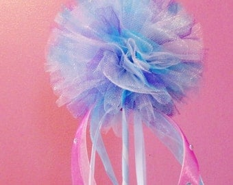 Any Color Tulle Pom Wand, Tulle Wand, Flower Girl Wand, Party Tulle Pom Wand, Princess Wand, Play Wand, Girls Gift