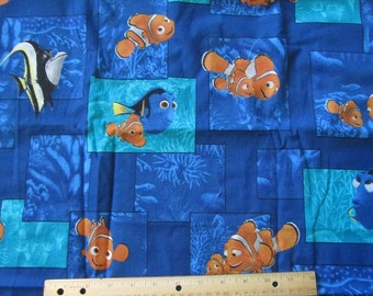 Blue Nemo/Dorie/Marlin Blocked  Cotton Fabric by the Yard