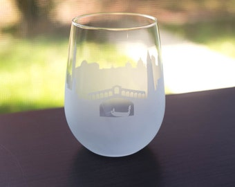 Etched Venice, Italy Skyline Silhouette Wine Glasses or Stemless Wine Glasses