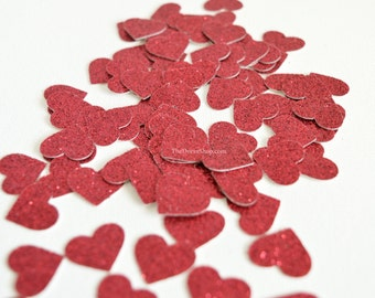 Red Heart Confetti - Red Glitter Hearts -  Wedding Decoration-  Shower Table Scatter - Valentine Day Confetti - Red Glitter Confetti Hearts