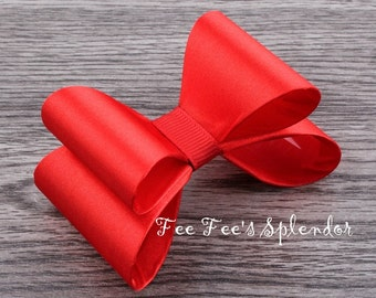 """CLEARANCE- Girls Luxe Bow- Red Satin Hairbow-  3 """" Hairbow- Headband or Hairclip DIY- Christmas Red"""