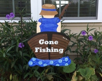 FISHING Garden Flag - Fisherman in Boat Sign - Fisherman - Boat Sign  - Fishing Boat - Garden Signs - Garden Flags - Whimsical - Door Decor