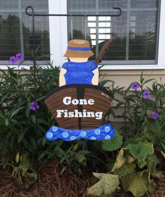 Gone Fishing Signs Decor: FISHING Garden Flag Fisherman In Boat Sign Fisherman